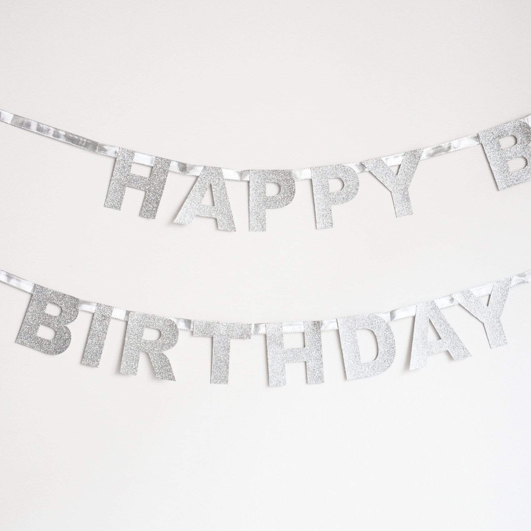 Happy Birthday Glitter Garland - Silver