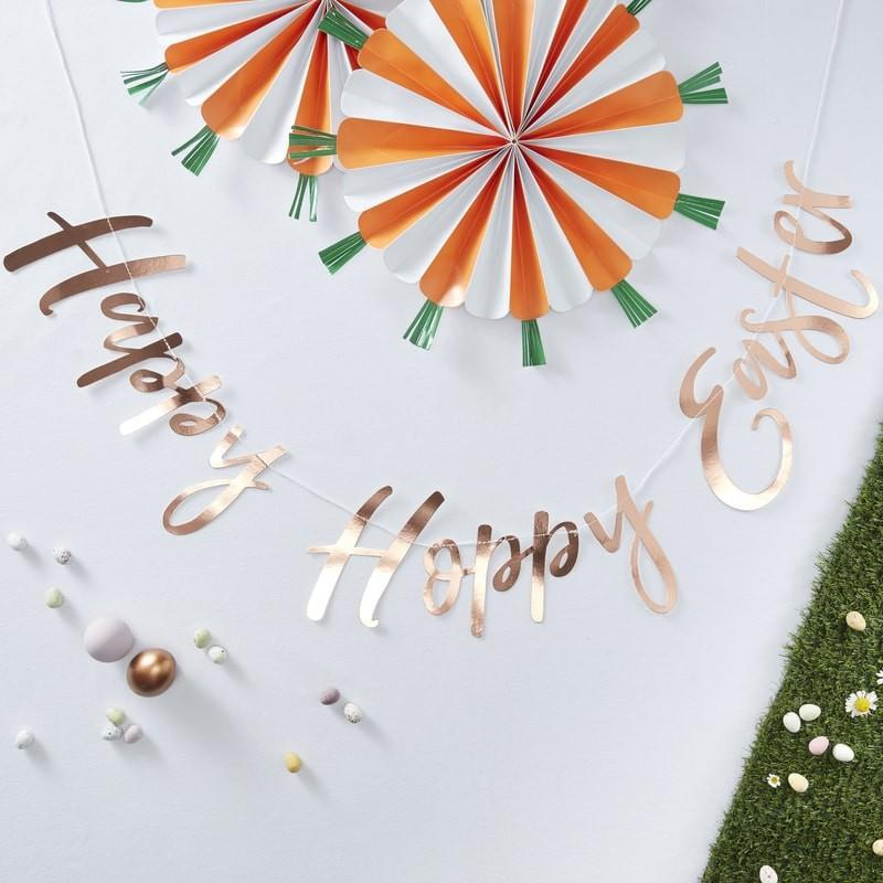 Happy Hoppy Easter Banner - Rose Gold