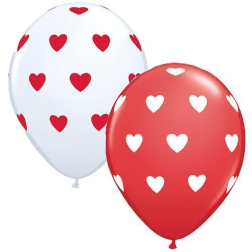 red white heart balloons