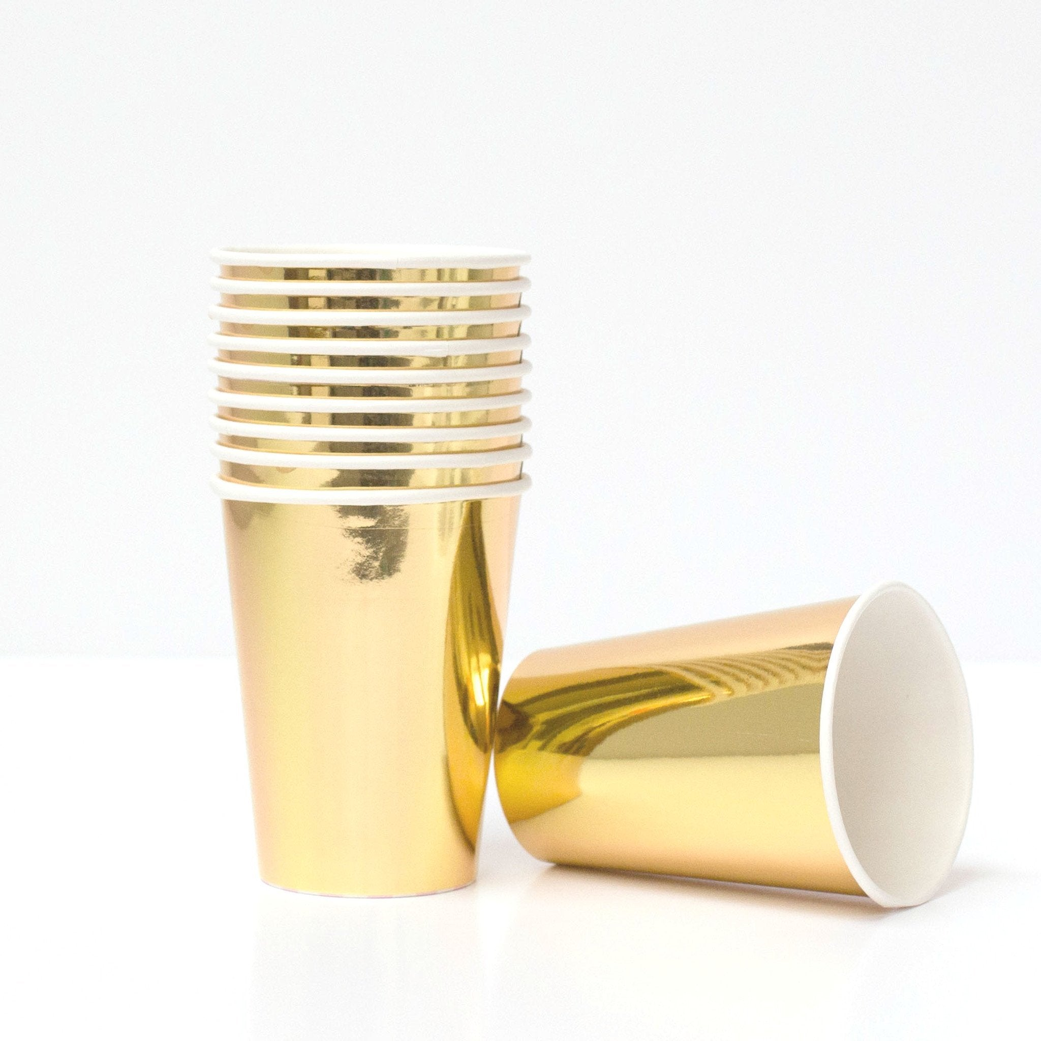 Shiny Gold paper party Cups