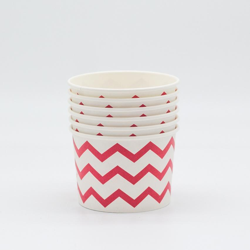 Red Ice Cream Cups with Chevrons