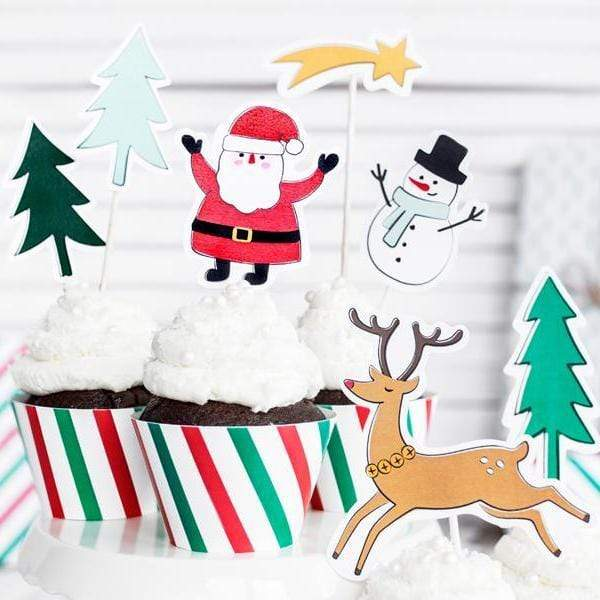 Christmas Cake Food Toppers Picks