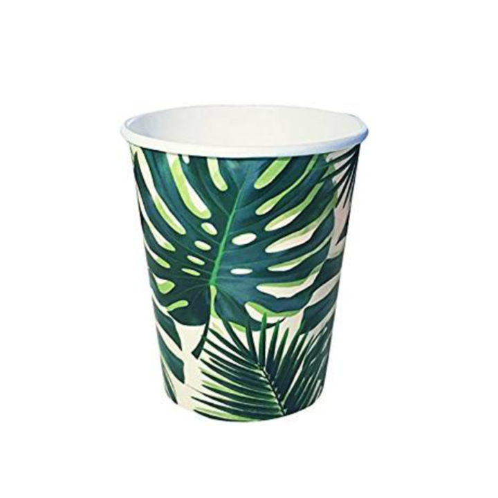 Jungle Palm Leaf Paper Cups (8 pack)