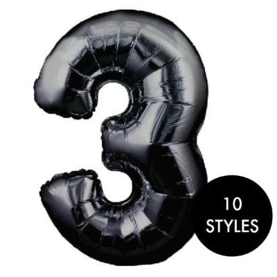 Large Black Number 3 Balloon | Giant 34