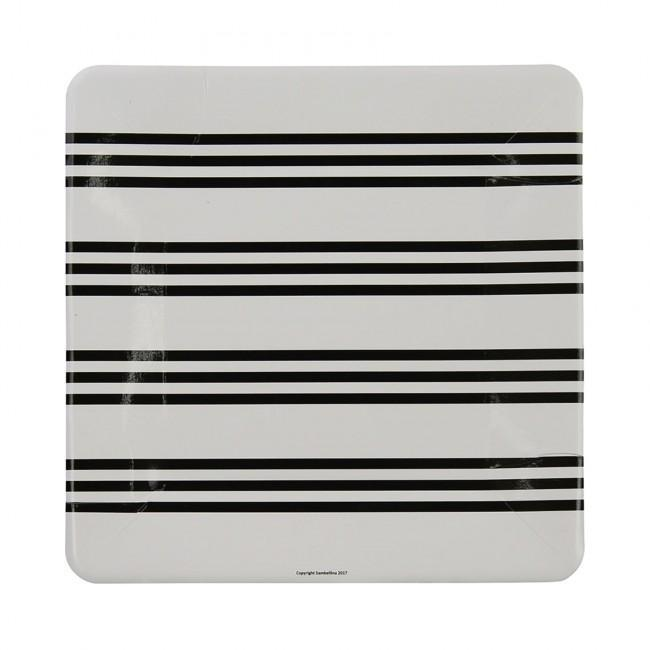 Black stripe French Party Plates