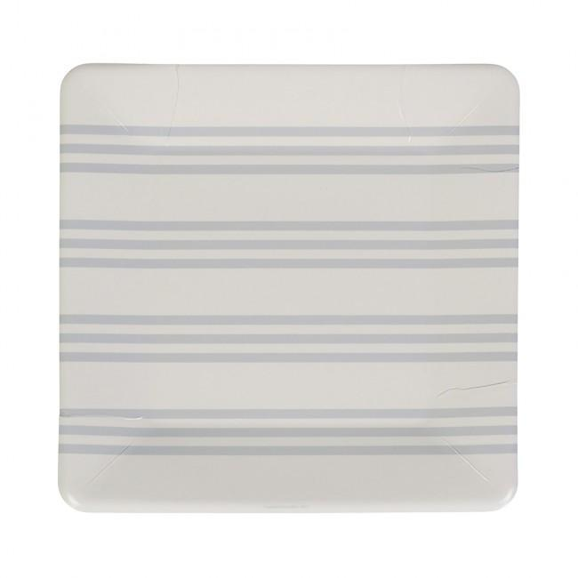 Grey French Stripe Paper Plate