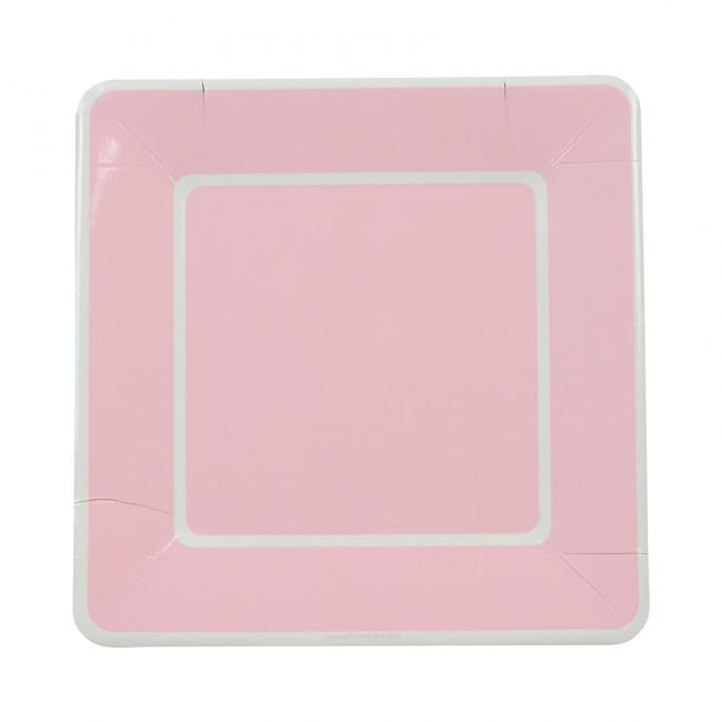 Large French Stripe Plate - Soft Pink (8 Pack)