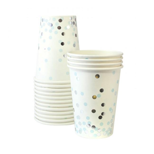 Confetti Blue Party Cups | Paper Eskimo