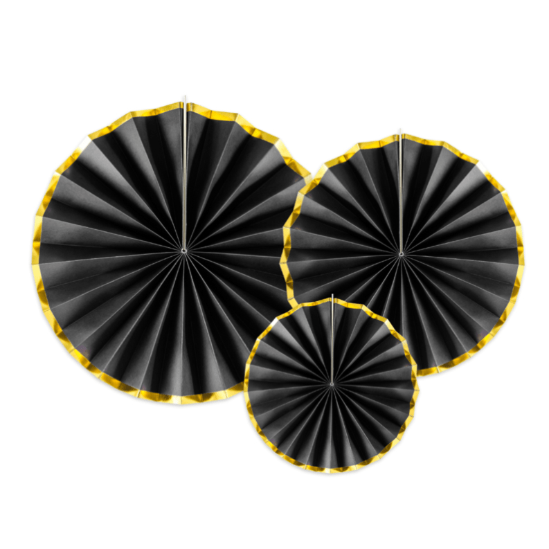Black paper fans - Party Decorations