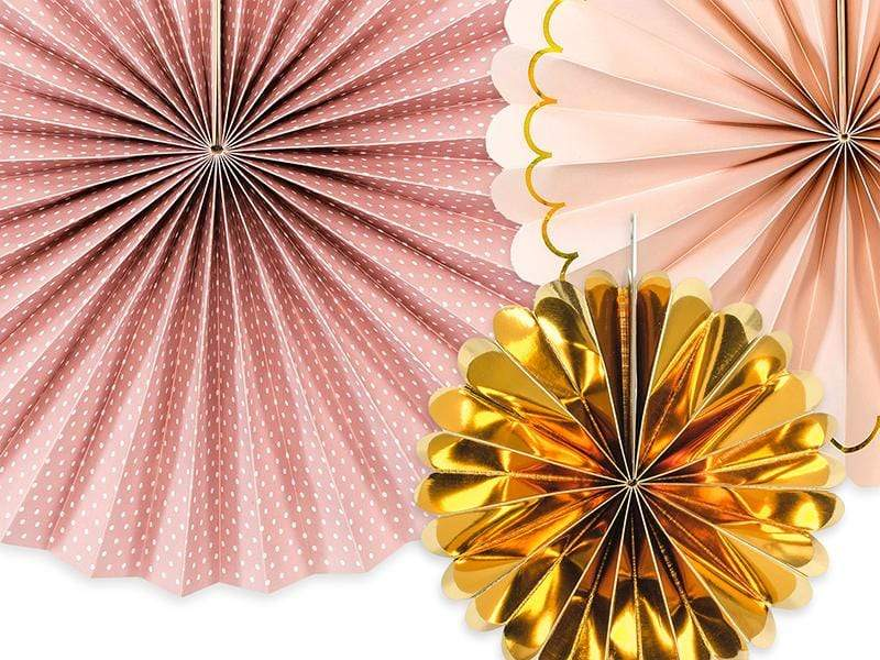 Blush and gold Mix paper fans | Wedding Decorations