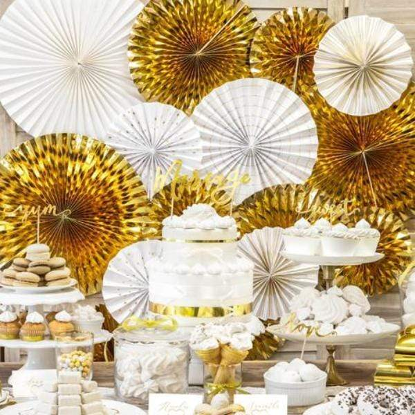 Gold Party Paper Fans - Wedding Decorations