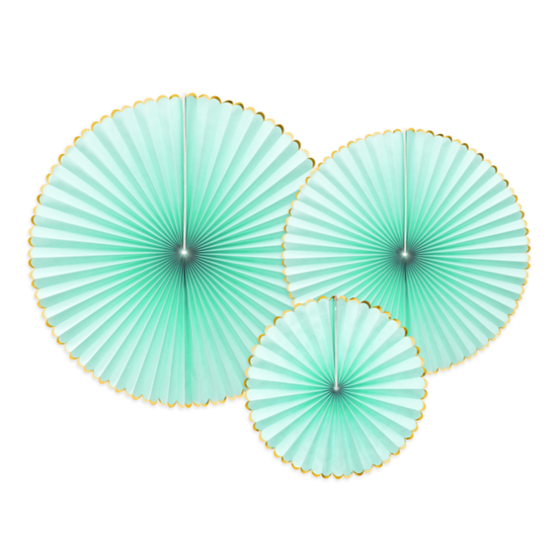 mint & Gold Party Fan Decorations | Wedding Decorations UK