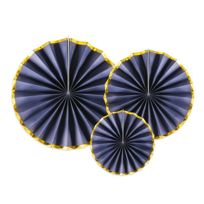 Navy Paper party Fans - Navy & Gold Decorations