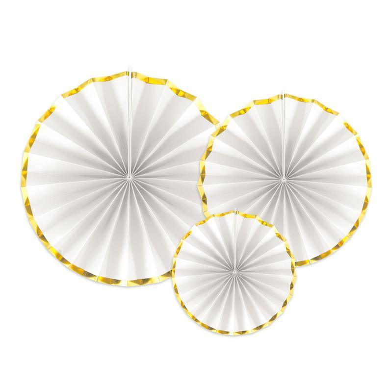 Paper fans for Weddings White & Gold