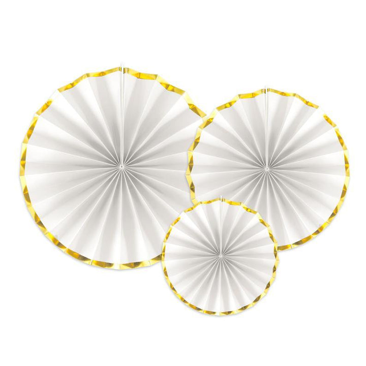 Luxe Fan Rosettes - White