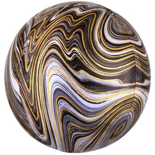 Marblez Orbz Balloon Black and Gold Marble Orb