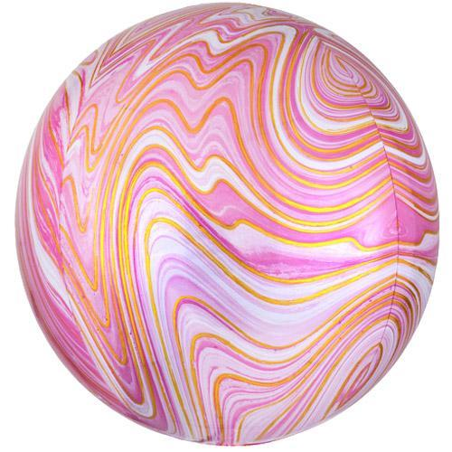 Marble Orb Balloon | Pink and Gold Marblez Orbz