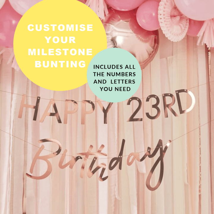 Milestone Birthday Bunting - Rose Gold