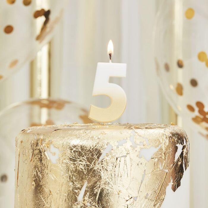 Milestone Birthday Number Candles | Five Fifth Birthday Cake Candle