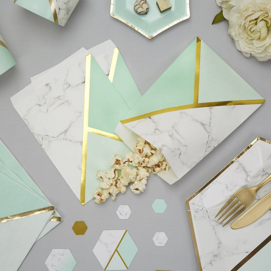 Wedding favor Bags Marble and mint