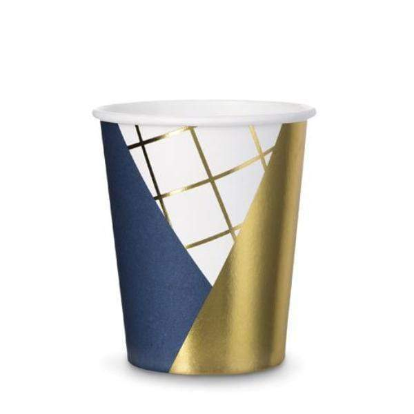 Colourblock Navy and Gold Party Cups