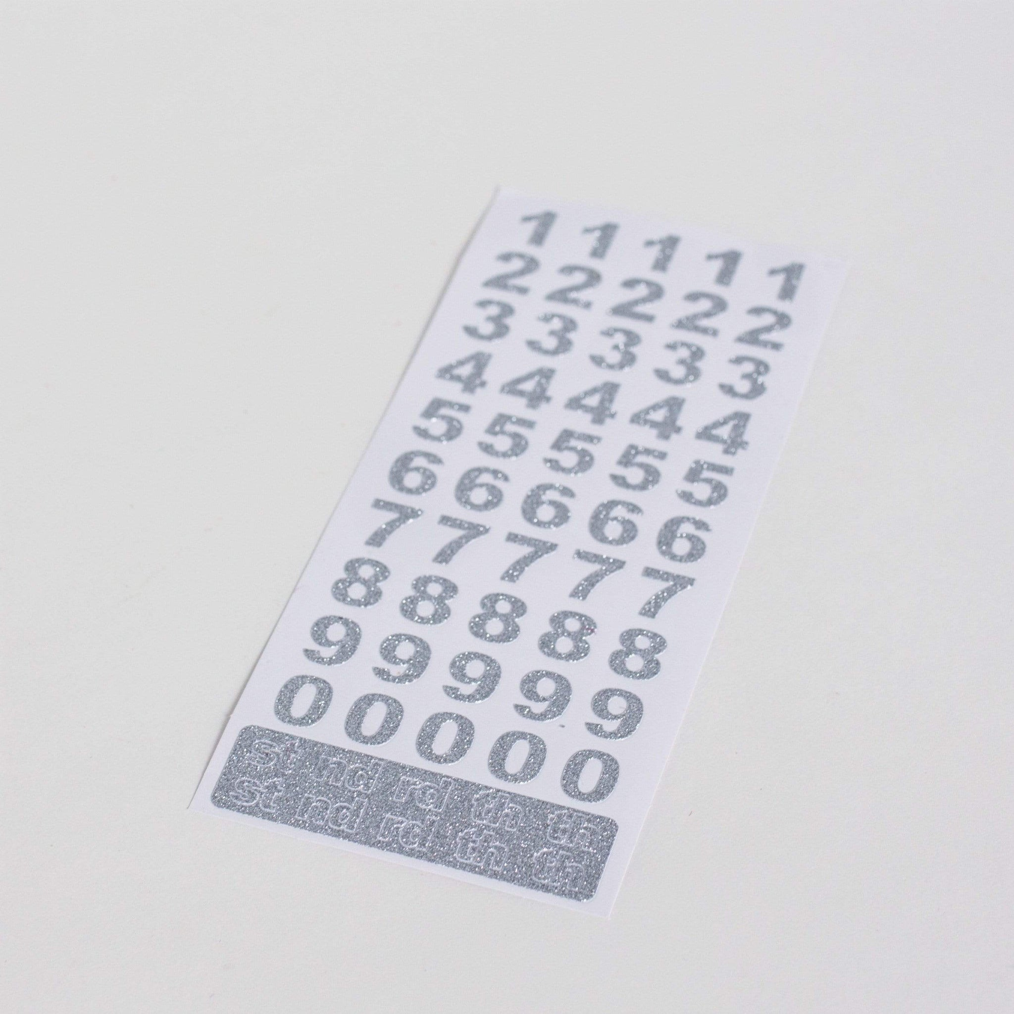 Silver Number Stickers