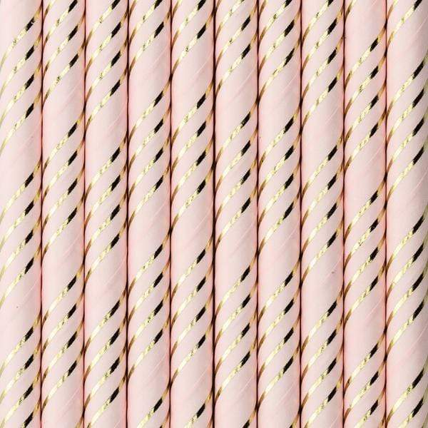 Pale Pink & Gold Striped Paper Straws (10 Pack)