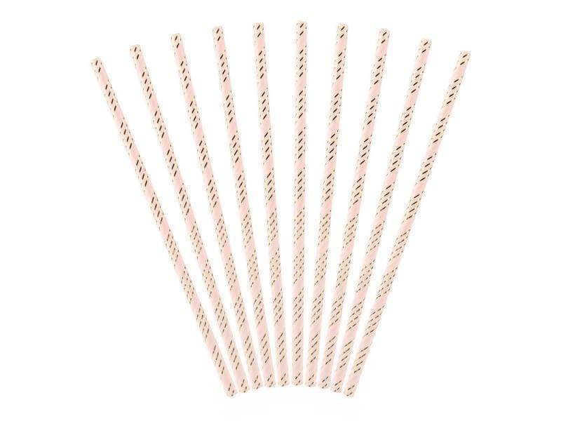Pink and Gold Paper Straws | Striped Party Straws UK