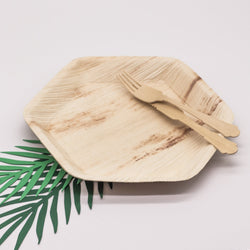 Palm Leaf Hexagonal Plates