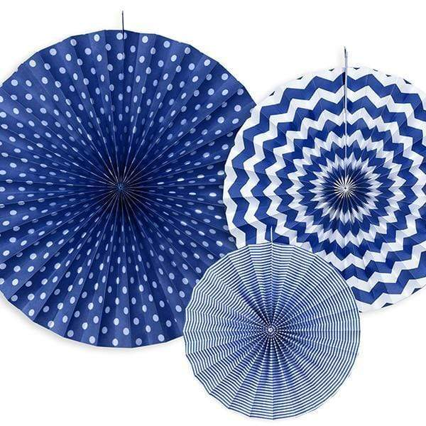 Blue Paper fan Rosettes | Blue Party Decorations | UK Party Supplies
