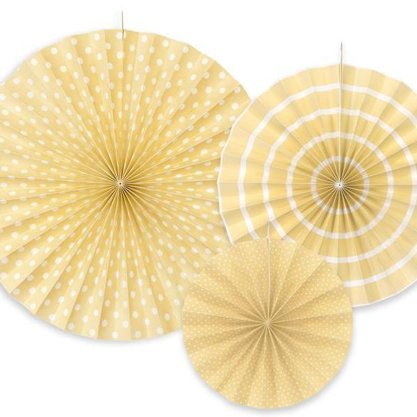 Paper Fan Rosette Pack - Cream