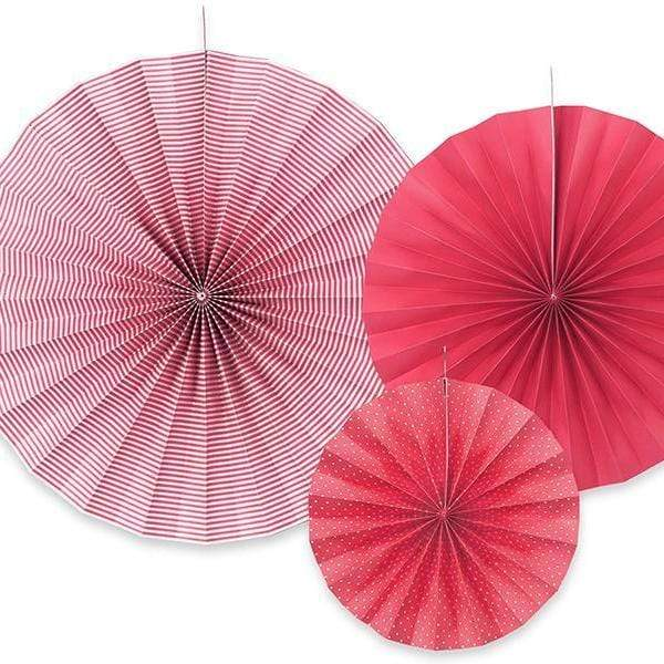 Paper Fan Rosette Pack - Red