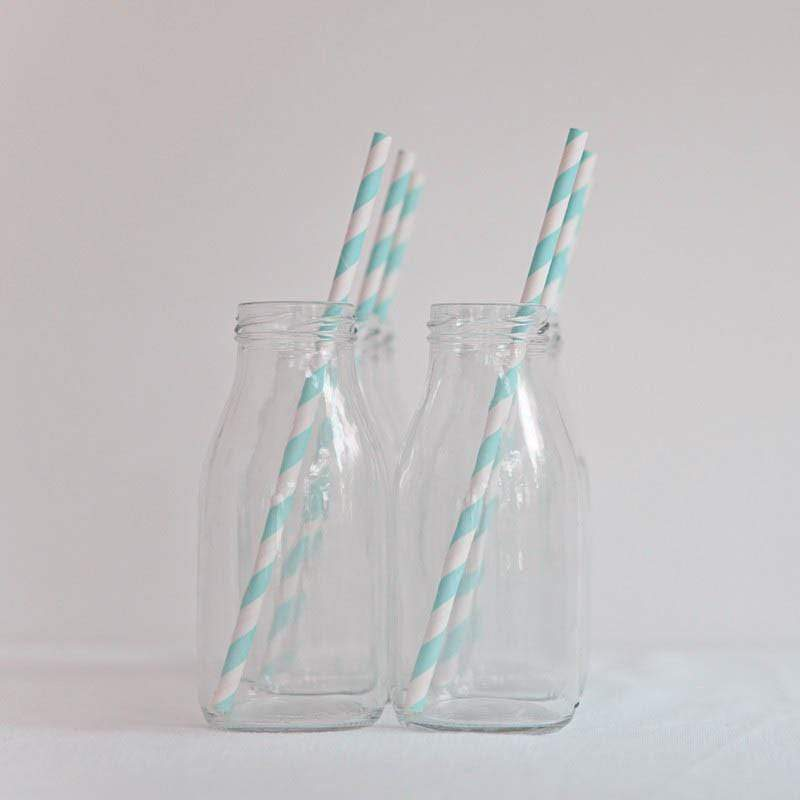 Light Blue Striped Paper Straws