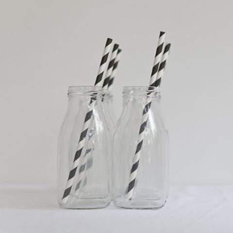 Striped Paper Straws Black