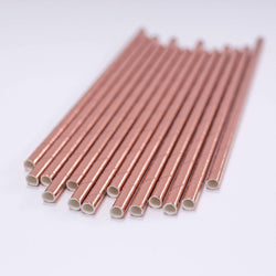 Paper Straws Foil Rose Gold - 10 pack