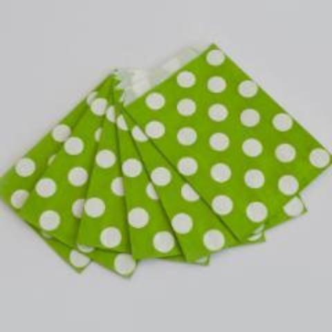 Party Bags Big Spots Green (12 Pack)