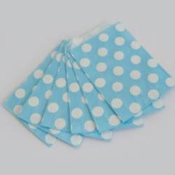Party Bags Big Spots Powder Blue (12 Pack)