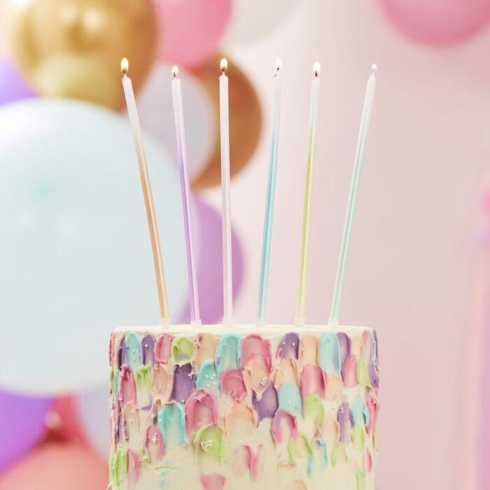 Pastel Ombre Tall Cake Candles (pack of 12)