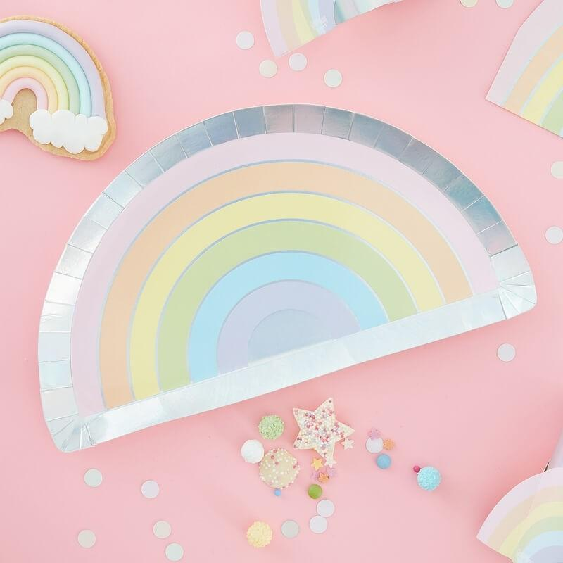 Pastel Rainbow Shape Plates (8 Pack)