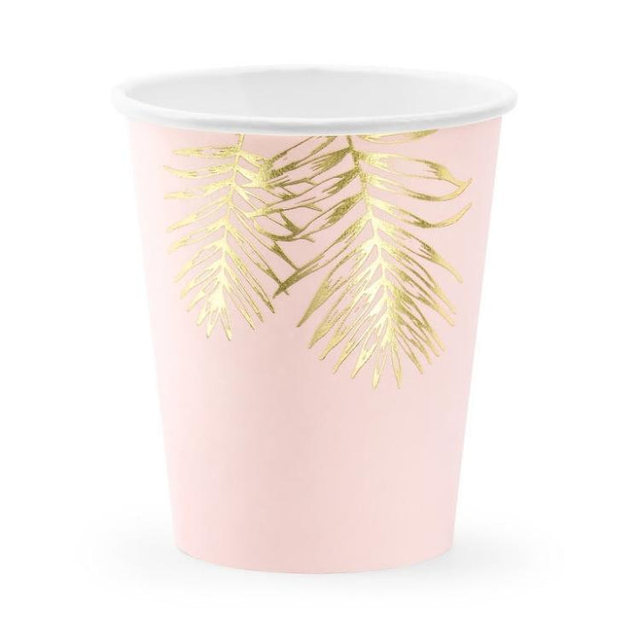 Pink & Gold Fern Leaf Cups (6 pack)