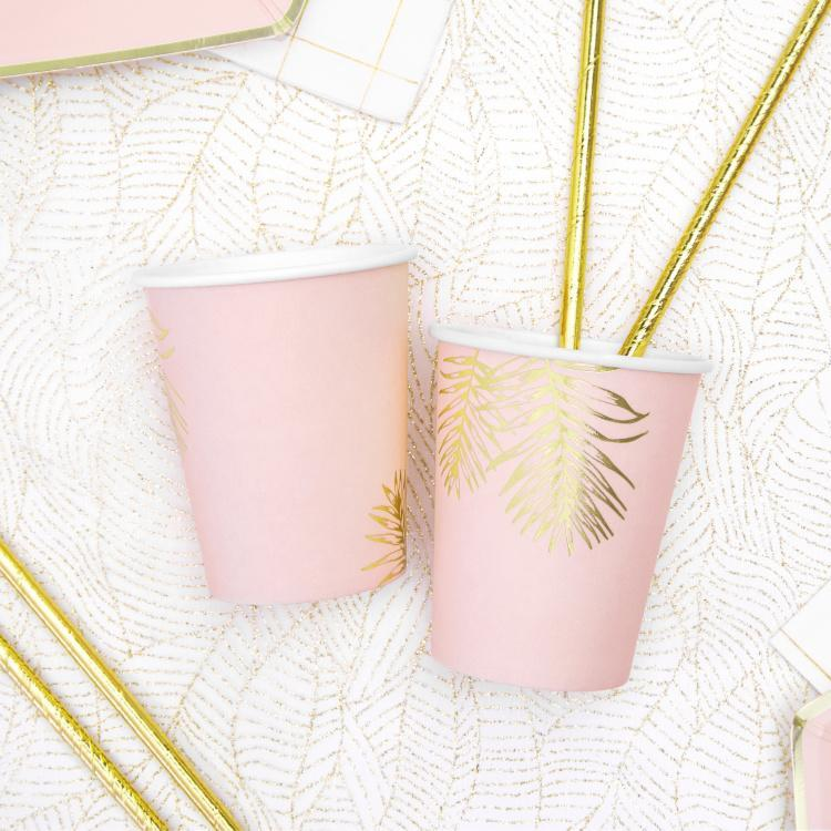 Pink Gold Fern Leaf Paper cups for weddings and Hen Do's
