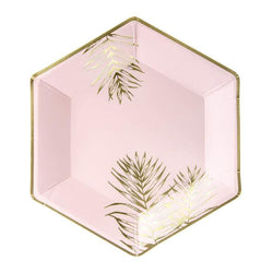 Pink & Gold Fern Leaf Plates (6 pack)