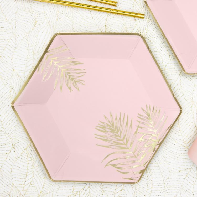 Pink Gold Fern Leaf Paper Plates for Weddings and Hen Do's
