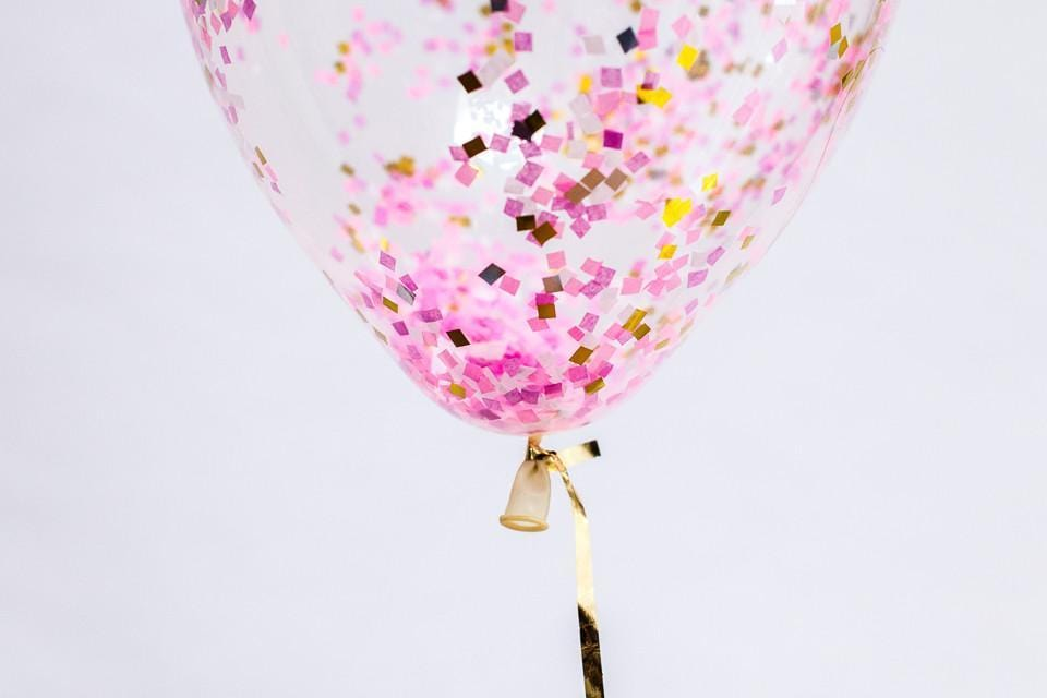 Confetti Filled Balloon Pink