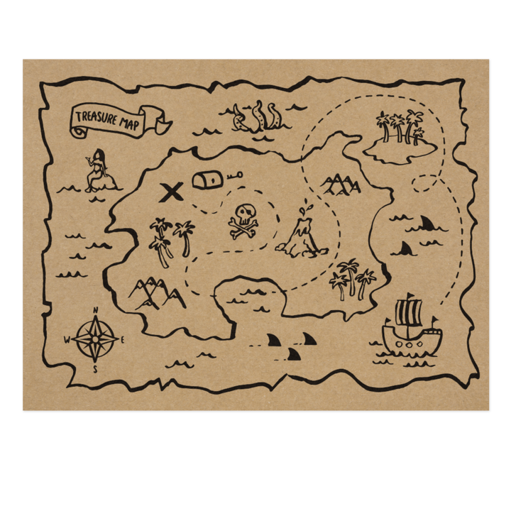 Pirate Map Placemats (6 Pack)