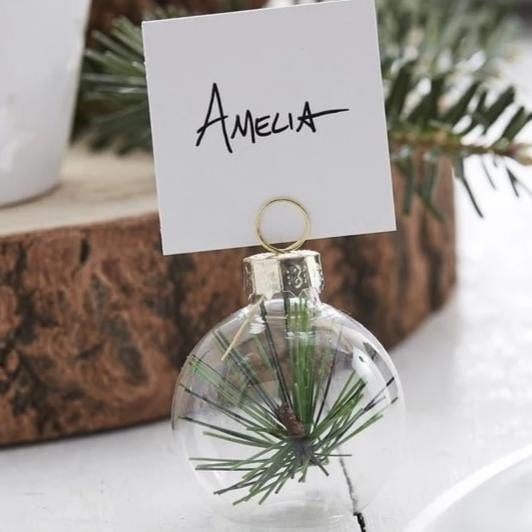 Glass Bauble Place Card Holder | Christmas Table Decorations