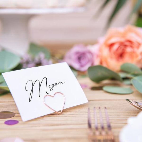Simple Stylish Place Card Settings - Rose Gold Heart