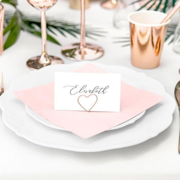 Place Card Holders - Rose Gold Hearts