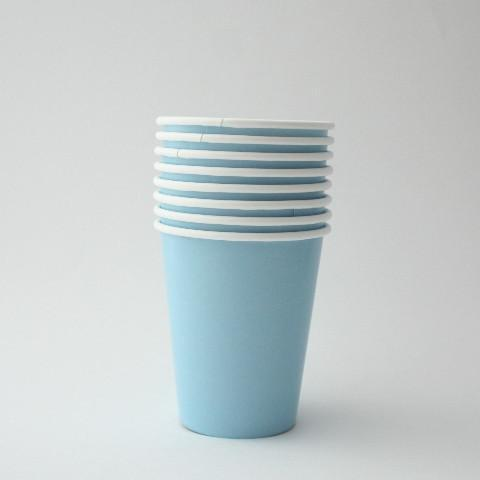 Plain Baby Blue Paper Cups (8 Pack)