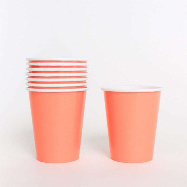 Plain Coral Paper Cups (14 Pack)